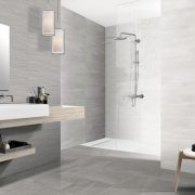 """AREZZO Porcelain Tiles 8"""" x 20"""" for floors and walls in grey."""