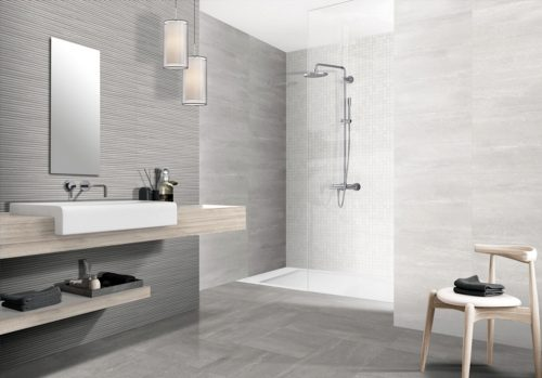 "AREZZO Porcelain Tiles 8"" x 20"" for floors and walls in grey."