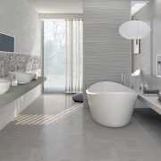 "AREZZO Porcelain Tiles 8"" x 20"" for walls in white."